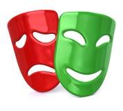 Groene gelukkige en droevige rode maskers Royalty-vrije Stock Foto