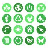 Groene Geplaatste Aardpictogrammen Royalty-vrije Stock Afbeeldingen