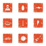 Groene geplaatste gebiedspictogrammen, grunge stijl Royalty-vrije Stock Foto