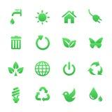 Groene Geplaatste Gezondheidspictogrammen Stock Afbeelding