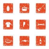 Groene geplaatste partijpictogrammen, grunge stijl Stock Afbeeldingen