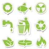 Groene geplaatste symbolen Stock Afbeelding