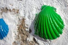 Groene geschilderde shell op witte muur dicht omhoog Symbool van bedevaart Pelgrimsteken op de manier van Camino DE Santiago stock afbeelding