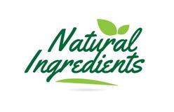 groene geschreven het woordtekst van blad Natuurlijke Ingrediënten hand voor het ontwerp van het typografieembleem stock illustratie