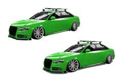Groene geïsoleerde moderne auto Stock Afbeelding