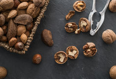 Groene gezonde, notenmengeling en notekraker Stock Afbeeldingen