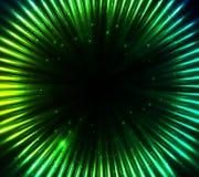 Groene glanzende kosmische lichten abstracte achtergrond Stock Afbeelding