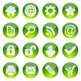 Groene glanzende pictogramreeks Stock Afbeeldingen