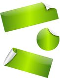 Groene glanzende stickers Stock Foto