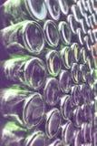 Groene glasflessen Stock Fotografie