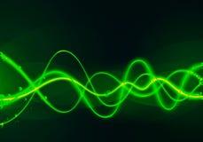 Groene gloeiende golven royalty-vrije illustratie
