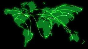 Groene gloeiende kaart van de wereld met vlak geanimeerde vliegtuigen stock illustratie