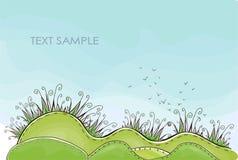 Groene grasachtergrond Gelukkige wereldinzameling Stock Afbeelding