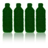 Groene grasfles met schaduwen Stock Fotografie