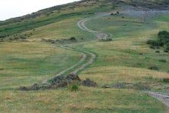 Groene, grasrijke heuvel De weg, de weg op de heuvel Licht onduidelijk beeld in agent om motie te tonen nave stock fotografie