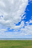 Groene graswolken en hemel overzeese aard als achtergrond Royalty-vrije Stock Afbeelding