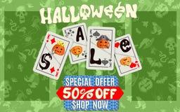 Groene Halloween-kortingsaffiche met speelkaarten vector illustratie
