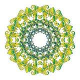 Groene Hand Getrokken Mandala, Oosters Decoratief Element, Uitstekende Stijl Royalty-vrije Stock Fotografie