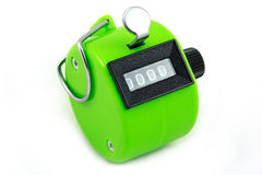 Groene hand tellende machine stock afbeeldingen