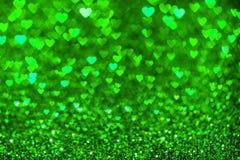 Groene hart bokeh achtergrond De textuur van de valentijnskaartendag royalty-vrije stock foto's