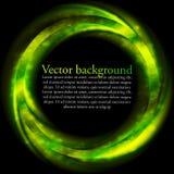 Groene heldere rign op zwarte achtergrond Stock Afbeeldingen