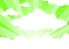 Groene hemel met wolken en zonnestralen royalty-vrije illustratie