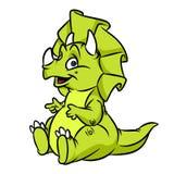Groene het beeldverhaalillustratie van dinosaurustriceratops Stock Afbeelding