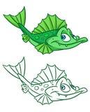 Groene het beeldverhaalillustraties van de vissenkemphaan Stock Foto's
