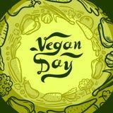 Groene het conceptenachtergrond van de veganistdag, hand getrokken stijl royalty-vrije illustratie