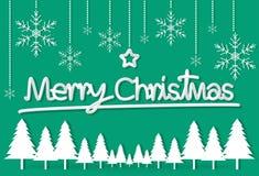 Groene het document van de Kerstmisdag de sterachtergrond van de prentbriefkaarsneeuwvlok wal vector illustratie