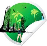 Groene het golfspeler van het etiketverstand vector illustratie