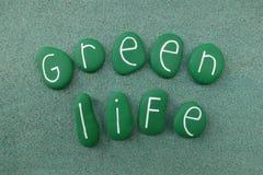 Groene het levenstekst met groene geschilderde stenen over groen zand stock foto
