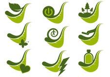 Groene het pictogramsymbolen van Eco Royalty-vrije Stock Afbeeldingen