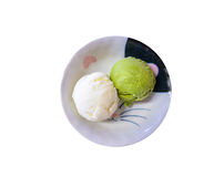 Groene het roomijslepel van theematcha in witte kom Royalty-vrije Stock Foto's