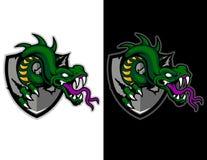 groene het schild moderne dierlijke mascotte van het slang brekende metaal voor esportembleem en t-shirtillustratie Stock Afbeelding