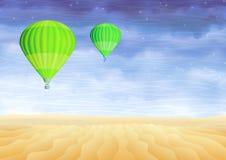 Groene hete luchtballons over een futlooze zandwoestijn Stock Foto