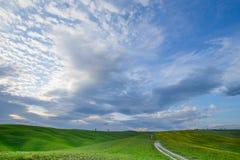 Groene heuvels met cipressen en groene weiden in Val D ?Orcia, Toscani?, Itali? royalty-vrije stock afbeeldingen