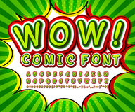 Groene hoge detail grappige doopvont, alfabet Strippagina, pop-art Stock Afbeelding