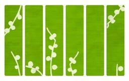 Groene houten banners met Japanse takaf:drukken Stock Afbeeldingen