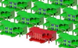 Groene huizen rond de rode villa royalty-vrije stock foto
