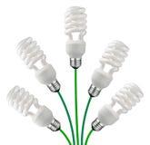 Groene Ideeën - de Geïsoleerde Bollen en de Kabels van de Spaarder stock foto