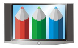Groene illustratie van televisie (Televisie) en rood, Stock Afbeelding