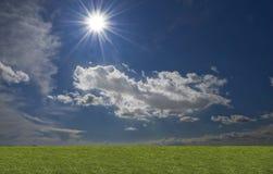 Groene ingediende, blauwe hemel, witte wolk Royalty-vrije Stock Fotografie