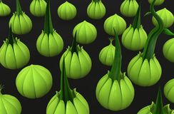 Groene installatiewijnstok, Knoppenspruit velen vector illustratie