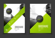 Groene jaarverslag Vectorillustratie Brochure met tekst A4 Royalty-vrije Stock Afbeelding