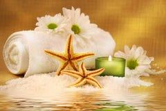 Groene kaars en handdoek Stock Fotografie
