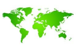 Groene kaart van de wereld Stock Afbeeldingen