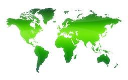 Groene kaart van de wereld royalty-vrije illustratie