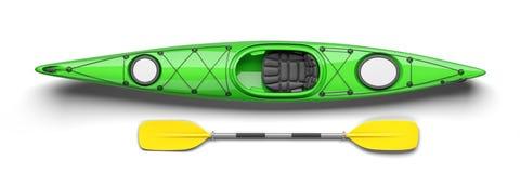 Groene kajak en roeispaan op hoogste 3D mening vector illustratie