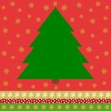 Groene Kerstboom op rode achtergrond met gouden sterren Royalty-vrije Stock Fotografie